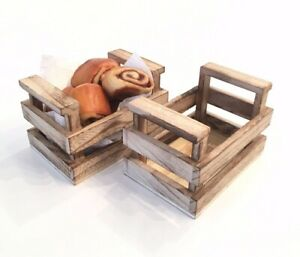 Real High Quality Wooden Crate Basket Food Presentation Cute Party Natural Eco