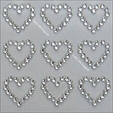 24 x 13mm Hearts CLEAR Rhinestone Diamante Stick on Self Adhesive GEMS Wedding