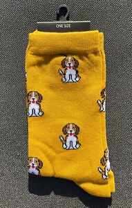 Ladies/Girls Mustard Yellow With Small Beagles Dogs On Cotton Ankle Socks