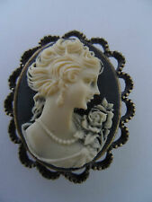 BLACK GOTHIC STEAMPUNK VICTORIAN EDWARDIAN VINTAGE STYLE CAMEO BROOCH new boxed
