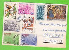 Sur CP - ITALIE - 8 timbres (Cachet SALERNO du 13-8-1971)