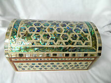 "Egyptian Inlaid Treasure Paua Shell Stars Jewelry Box 8"" #549 Very Unique"