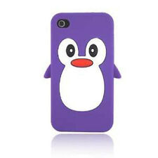 For iPhone 4 4S Rubber SILICONE Skin Soft Gel Case Phone Cover Purple Penguin