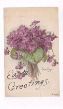 Antique 1906 udb Easter post card signed Longpre Bouquet of Violets & Glitter