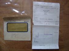 1938 Facture et Enveloppe AIR LIQUIDE pour Garage Mecanicien Mainsat Creuse