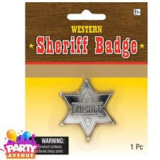 Sheriff Badge Die-Cast Metal Cowboy Cowgirl Western Fancy Dress Accessory