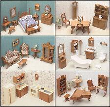 Dollhouse Furniture Set Wood Kit 6 Rooms Bedroom Bathroom Kitchen Dining Room