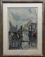 Stadtansicht Alt Berlin Jungfernbrücke mit Personen Helmut Voigt *1928 61 x 47