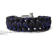 Männer-frauen Paracord Armband-Half Hitch-Surfer Armband-Schäkel-Thin Blue Line