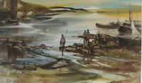 '82 GALINA SHEETIKOFF (b.1933) BRAZILIAN Watercolor Painting SAO PAULO FISHERMAN