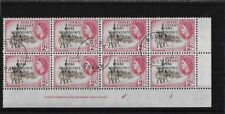 GHANA SG179, 2/- IMPRINT / PLATE BLOCK OF 8 STAMPS FINE USED