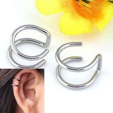 1 Pair Double Cartilage Bone Circle Non-piercing Cuff Clip-on Ear Clips Earrings