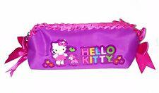 Hello KITTY zip up pencil case - purple pink magenta / RUFFLES BOWS - CUTE!