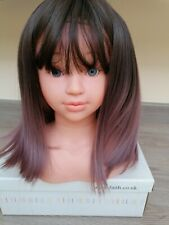 Gorgeous BNWT Ombre Brown Pinky Purple  Mid Length Bob Wig quality natural hair