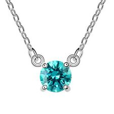 18K WHITE GOLD GP Made With SWAROVSKI CRYSTAL Basic Round Blue Color NECKLACE