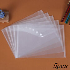 5pcs/Set Clear Paper Files Folder Document Bag A4 Size Office & Study Supplies