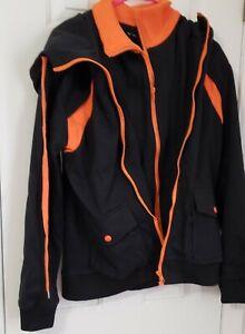Men's NWOT The Lees hooded double zipper black and orange jacket size Medium