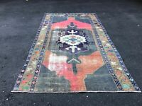 VINTAGE TURKISH OUSHAK RUG TRIBAL DISTRESSED LOW PILE HANDMADE WOOL RUNNER RUG