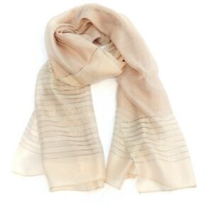 Silver Braid Multi Colour Silk Womens Fashion Scarf (Beige)