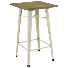 HARTLEYS TALL WOODEN TOP CREAM STEEL BISTRO TABLE INDUSTRIAL BREAKFAST/BAR/CAFE
