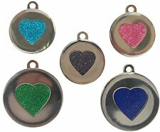 Custom Pet Tags Heart Glitter Engraved Pet 25/32mm DOG CAT ID Disc Disk FREE P&P