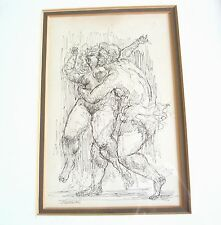 CHARLES BURDICK INK DRAWING, 8 X 5 1/4 INCHES, FRAMED