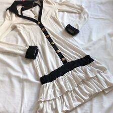 MA*RS White Black Ruffle Gold Button Dress OP Japanese Gyaru Agejo Rare