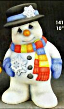 CERAMIC BISQUE WINTER SNOWMAN WITH SCARF & SNOWFLAKE- READY TO PAINT
