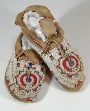 1920s PAIR NATIVE AMERICAN CHEYENNE INDIAN BEAD DECORATED HIDE MOCCASINS BEADED