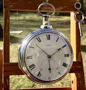 Beautiful 1809 English Verge Fusee Silver Pair Case Pocket Watch By J. Hadley
