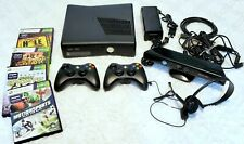Xbox 360 S Slim 250GB Console w/ Kinect, 2 Controllers, 4 Games, Headset TESTED
