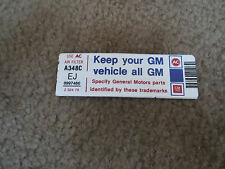 1980 CHEVROLET CAMARO Z/28 Z28 KEEP YOUR GM ALL GM AIR CLEANER DECAL NEW