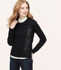 NWT Ann Taylor Loft Navy Mixed Stitch Sweater - Medium