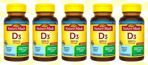 5 Nature Made Vitamin D3 100 Softgels Vitamin D 2000 IU (50 mcg) EXP 10/23