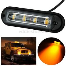 Super Bright 4 LED Waterproof Car Truck Strobe Flash Light DRL Amber Yellow NEW