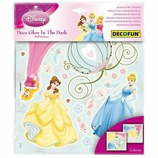 DISNEY PRINCESS GLOW IN THE DARK WALL STICKERS NEW OFFICAL