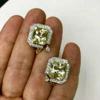 Impressive 19.20 Carat Pair Of Yellow Sapphire & 2.65 Carat CZ Unique Earrings