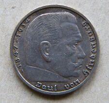 Nazi Germany 1935 RM 5 Five Reichsmark Hindenburg Silver