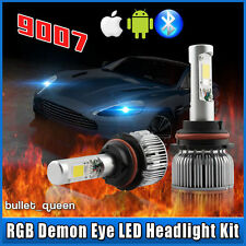 Hi-Lo 9007 HB5 COB LED Headlight w/ RGB Demon Eyes APP Control Color Changing