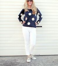 NEW LADIES WOOL POLKA DOT SEQUIN KNIT JUMPER GREY & NAVY SIZE 8-14 ON SALE