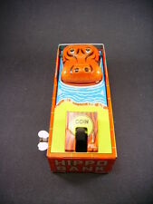 """Yone toy  """"happy hippo bank"""" wind-up mechanical tin toy (made in Japan) tirelire"""
