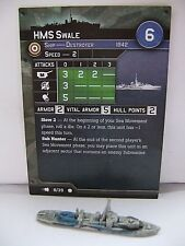 """Axis and Allies War at Sea """"Fleet Command"""" HMS Swale (8/39) Game Piece & Card"""