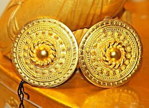 ALEXIS KIRK SIGNED ETRUSCAN LARGE COUTURE GOLD PLATED CLIP EARRINGS