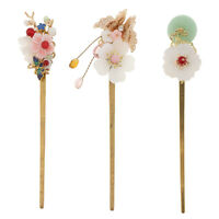 Retro Floral Flower Bead Hair Stick Hairpin Ancient Chinese Japanese Chignon