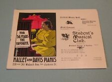 1896 Chicago Student's Musical Club Concert Program Hallet and Davis Pianos 10pg