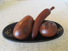 VINTAGE,3 CARVED WOOD FRUIT & OVAL TRAY, DAISY DESIGN, BANANA, POMEGRANATE, PEAR