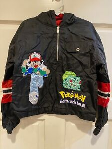 Pokemon Ash Sparkle Pullover Black Jacket Hoodie Pikachu Power Patch Trainer Vtg