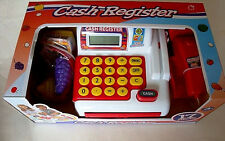 17-PIECE ELECTRONIC CASH REGISTER PLAYSET,W/ SCANNER,PLAY MONEY,FOOD,BASKET,NEW