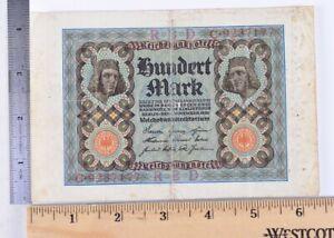 Vintage/Old German/Germany 100 Mark Bank Note/Currency/Cash Circa 1920