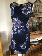 Beautiful Joules Navy Floral Dress With A Jewelled Neckline Size 12 Ex Cond